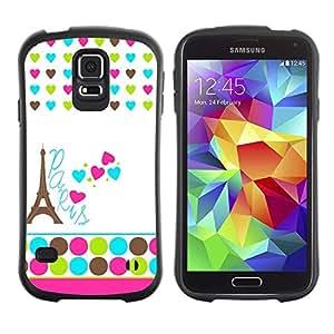 Suave TPU Caso Carcasa de Caucho Funda para Samsung Galaxy S5 SM-G900 / Polka Dot White Heart France Eifel / STRONG