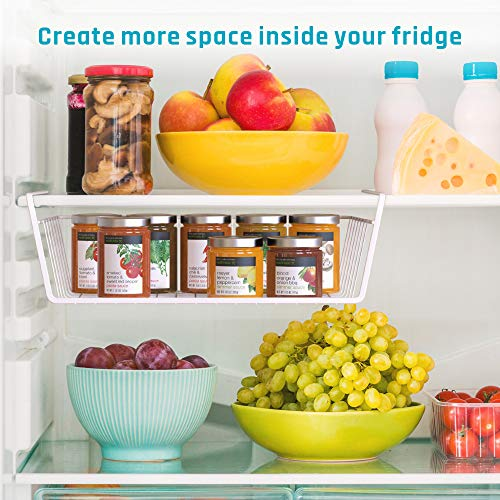 iSPECLE Under Shelf Basket, 4 Pack White Wire Rack, Slides Under Shelves for Storage, Easy to Install by iSPECLE (Image #4)