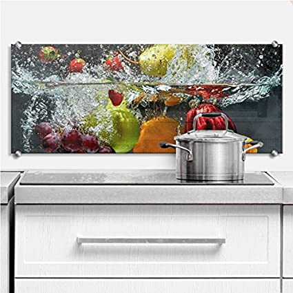 Amazon Com Glass Backsplash Refreshing Fruit Kitchen Splashback