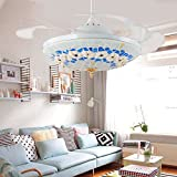 Huston Fan White Mediterranean Style Indoor Home Retractable Ceiling Light With Fan Living Room Kid's Bedroom Ceiling Chandelier Fan With Remote