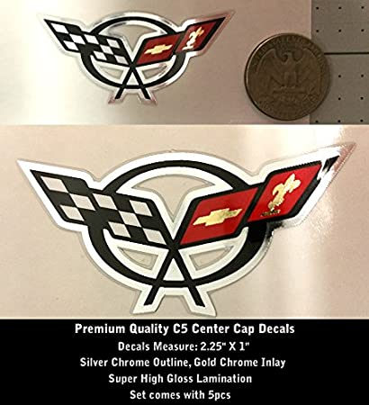 2000-2004 Corvette Wheel Center Cap Decal C5 Set of 5