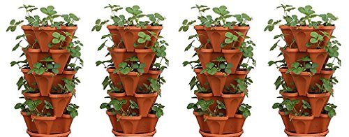 Mr. Stacky 5-Tier Strawberry Planter Pot, 5 Pots (4-(Pack)) For Sale