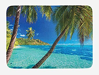Ocean Bath Mat, Image of a Tropical Island with The Palm Trees and Clear Sea Beach Theme Print, Plush Bathroom Decor Mat with Non Slip Backing, 23.6 W X 15.7 W Inches, Turquoise Blue