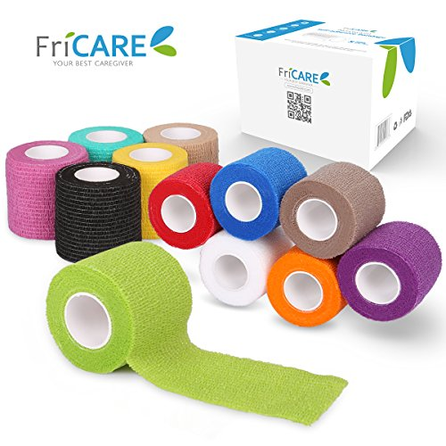(FriCARE 2 Inches Wide Self-Adhesive Bandage, Self Adherent Cohesive First Aid Medical Wrap, Elastic Vet Tape for Kid Dog Pet (Rainbow, 12 Pack))