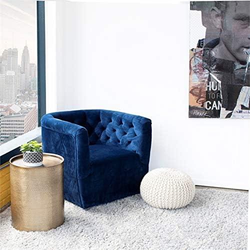 ASHCROFT Rose Mid-Century Modern Navy Blue Velvet Swivel Accent Chair - a good cheap living room chair