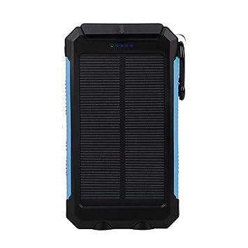 melysEU 20000mAh Cargador Solar portátil de Powerbank Portable Energy Batería Externa Doble USB General con batería y compás (Azul)