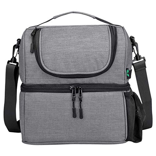 F40C4TMP Lunch Box Insulated Double Deck Lunch Bag for Men Women, 12 Cans Leak-proof Dual Compartment Cooler Tote Keep Warm and Cold with Bottle Side Pocket and shoulder Strap for School, Camping Grey