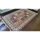 Silk True Red Ivory Navy Sage Camel New Traditional Panal Squares Area Rugs Ultra Low Pile 8'3x11'5 250x350cm 410red