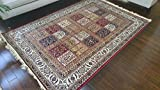 Silk True Red Ivory Navy Sage Camel Traditional Panal Squares Area Rugs Ultra Low Pile 5'2x7'6 160x230cm 410red