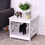 Giantex Nightstand End Table Home Furniture Open Shelf X-Design Beside Coffee Table (1)
