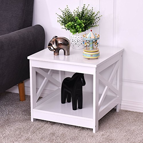 Cheap Giantex Nightstand End Table Home Furniture Open Shelf X-Design Beside Coffee Table (1)