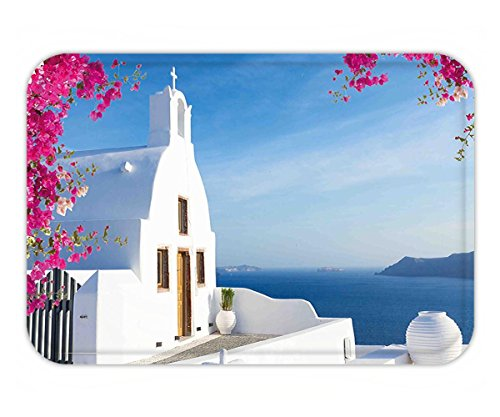 Minicoso Doormat Travel Santorini Island Greek Mediterranean Sea Coast Paradise Village Picture Hot Pink White Sky - Of Picture Versace