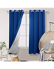 Deconovo Decorative Blackout Curtains Room Darkening Thermal Insulated Grommet Top Drapes with Silver Back for Nursery 52W x 72L Inch Royal Blue Set of 2 Panels
