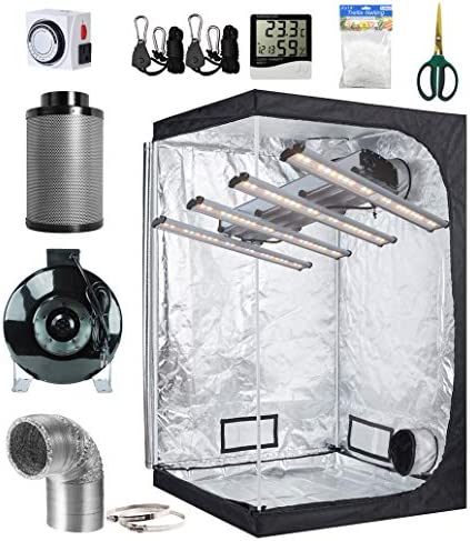 BloomGrow 1200W LED Full Spectrum Professional Grow Light Strips 48 x48 x80 600D Mylar Grow Tent Room 6 Inline Fan Air Carbon Filter Ventilation System Indoor Plant Grow Tent Complete Kit