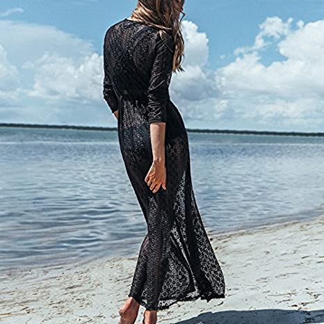 b580203175 Wander Agio Womens Bikini Cover Ups Beach Coverup Swimsuits Sunscreen Long  Covers All Lace Black at Amazon Women's Clothing store: