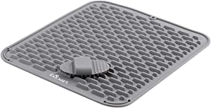 """ECOART Silicone Dish Drying Mat, Waterproof Countertop Mat, Dish Draining Mat, Sink Mat,18 x 16"""" Large Silicone Trivet with Silicone Cleaning Brush (Cool Gray)"""
