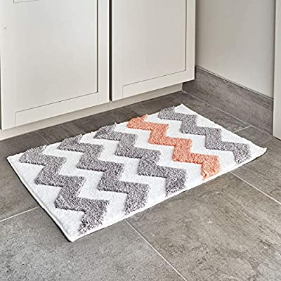 """iDesign Chevron Microfiber Polyester Bath Mat, Non-Slip Shower Accent Rug for Master, Guest, and Kids' Bathroom, Entryway, 34"""" x 21"""", Light Gray and Coral - HIGH QUALITY FABRIC: Made of 100% microfiber polyester, this non-slip shower rug adds modern and chic style to your master bathroom, kitchen, kids' bathroom, guest bathroom, office, craft room, and other places in your home. The classic chevron design looks great with any decor STURDY: Stays in place throughout the day with a non-skid, no-slip backing EASY MAINTENANCE: This bathroom rug is machine washable and hangs dry for easy cleaning - bathroom-linens, bathroom, bath-mats - 51q5frkOTVL. SS400  -"""
