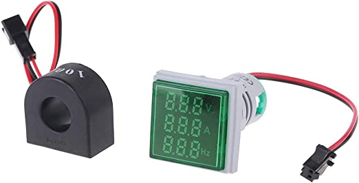 Digital Voltmeter Ammeter 22mm Round AC 50-500V 0-100A Voltage Volt Amp Monitor Current Tester 2 in 1 with CT by BLINGYING