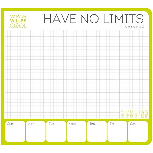 Have no Limits Notepad by WILLBE.COOL. 60 Sheets Pen-To-Paper Planner, Weekly Organizer, Appointment Book. Cute Bright Design Daily Paper to do list and task planner for Quick Notes at Office or Home
