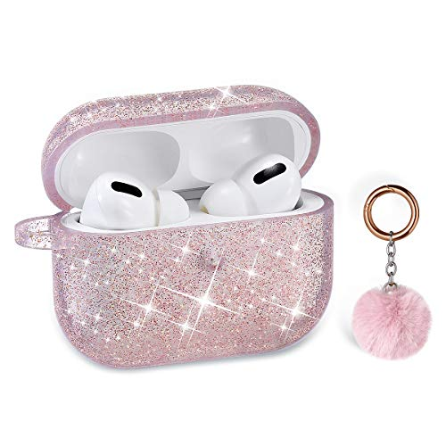 Airpods Pro Case, DMMG Airpods Case Cover Silicone Skin, AirPods Protective Cute Bling Glitter Case with Fluff Ball Keychain, Scratch Proof and Drop Proof for Apple Airpods Pro