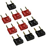 Seismic Audio-Pack of 10 (5 Red and 5 Black) Banana Plugs Gold Speaker Cable Connectors-Plugs