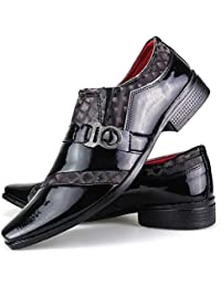 Sapato Social Neway Masculino Preto Vinho