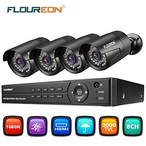 FLOUREON CCTV Cameras System 8CH ONVIF AHD DVR 4PCS Outdoor 1080P 3000TVL...