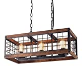 Anmytek Square Metal and Wood Chandelier Basked Pendant Three Lights Oil Black Finishing Iron Net Lamp Shade Retro Vintage Industrial Rustic Ceiling Lamp Caged Light