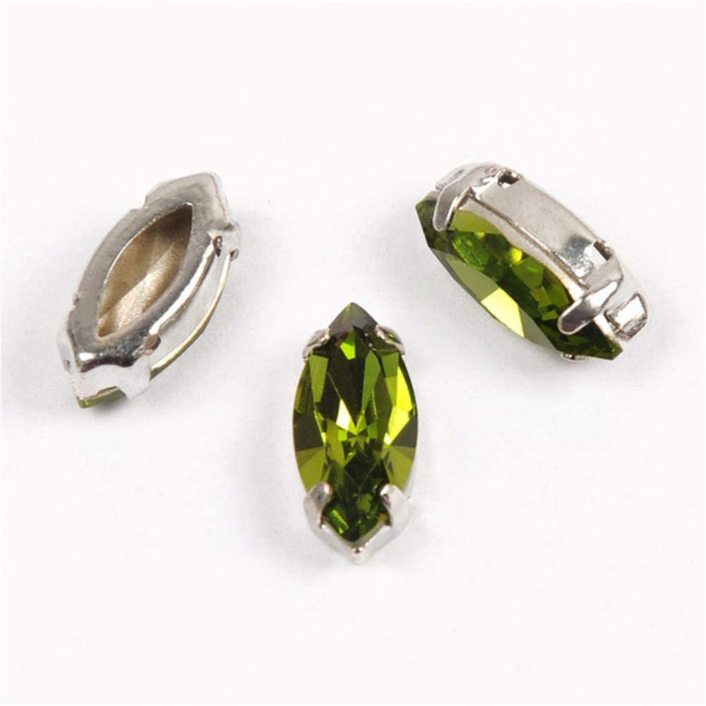 PENVEAT 4200 Fancy Stones Setting K9 Horse Eyes Piedras del Strass Apuntadas hacia atrás Strass Crystal Gems Todo para Coser, Olivine, 4x8mm 45Pcs