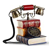 HomJo Creative book shape Push Button Telephone Vintage Antique Style Resin metal Corded Telephone Home Living Room Decor , 1