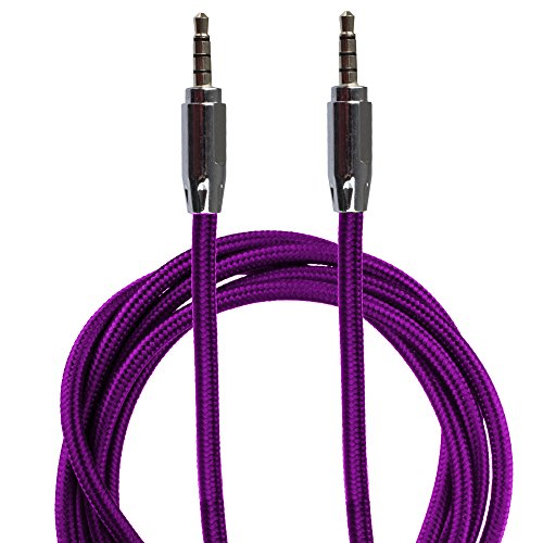 Lilware Braided Nylon Textile 35 Inches (90 cm) Aux Audio Cable 3.5mm Jack Male to Male Cord For Multimedia Devices - Purple