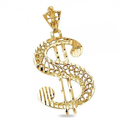 Dollar Sign Charm Solid 14k Yellow Gold Hip Hop Style Pendant Diamond Cut Grill 26 x 17 (14k Gold Dollar Sign)
