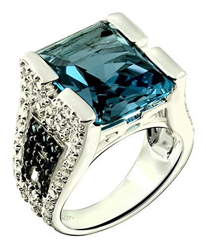 Sterling Silver 925 STATEMENT Ring LONDON BLUE TOPAZ 14.76 Cts with Rhodium-Plated Finish, BAROQUE Style (7) by RB Gems (Image #6)