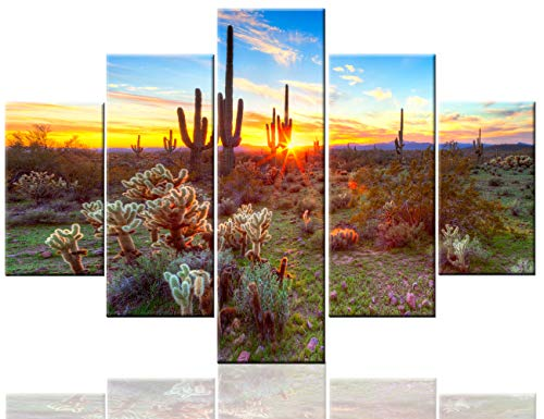 Native American Wall Decor Sonoran Desert near Phoenix Paintings USA Landscape Artwork 5 Pcs/Multi Panel Canvas Modern Artwork Home Decorations for Living Room Framed Ready to Hang(60