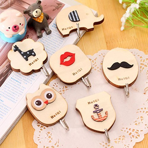 Yeefant 6 Pack Cute Cartoon Pattern Bathroom Kitchen Vacuum Wall Strong Suction Key Holder Cup Wooden Wall Door Home Strong Adhesive Retro Hooks Hanger Sucker Kitchen Sticky Holder,Saving Your Space
