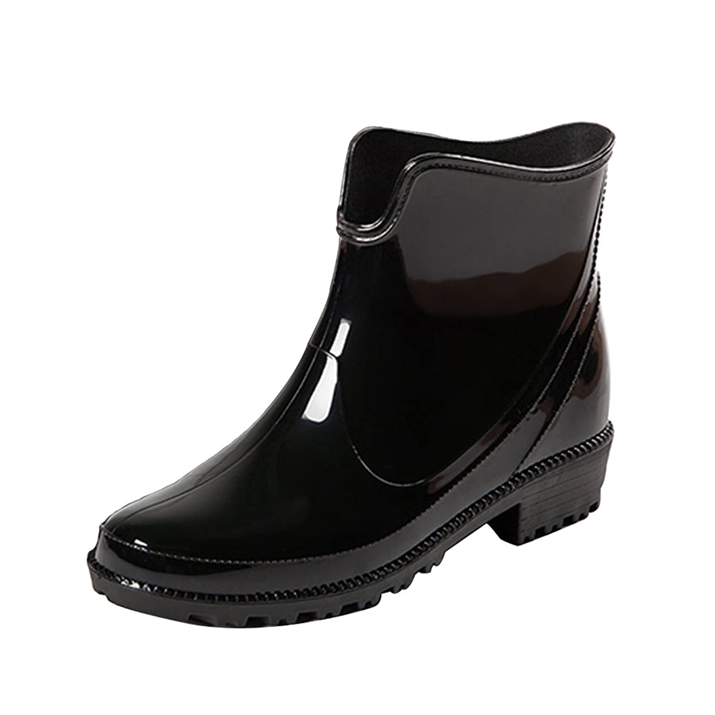 LOKTARC Women's Chelsea Rain Boots Wide Calf Short Wellingtons