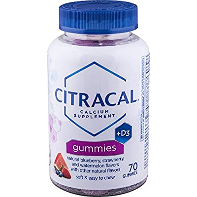 Citracal Calcium Gummies With 1000 IU Vitamin D3, Bone Health Supplement for Adults, Natural Flavor Blueberry, Strawberry and Watermelon Chewables, 70 Count