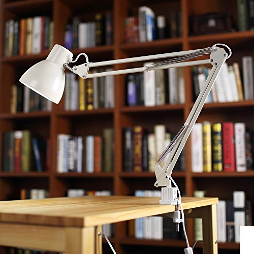 "ToJane Metal Desk Lamp,30"" Adjustable Swing Arm Architect Light, C-clamp Mounted Table Office/Studio Lamp,White Finish"