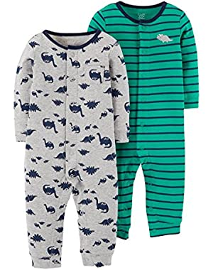 Carter's Just One You Baby Boys' Dino Jumpsuit Set-Grey/Green