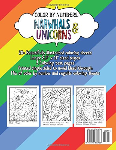 Amazon.com: Color by Numbers: Narwhals & Unicorns: A Fantasy Color ...