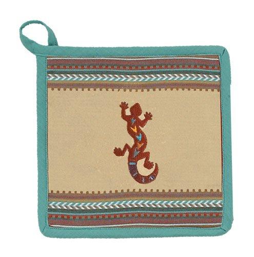 2 Southwest Lizard Embroidered Potholder (Beige Lizard)