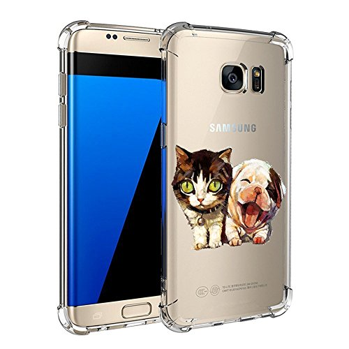 Price comparison product image Beryerbi Samsung Galaxy s7/s7 Edge Flexible TPU Interesting Pattern Ultra Slim Transparent Anti-Scratch &Shock Protective Cover (Galaxy s7, 4)