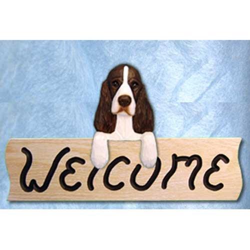 Michael Park English Springer Spaniel Liver Welcome Sign Oak