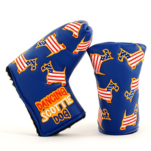 (19th Hole Custom Shop US Flag Dancing Scottie Dog Headcover for Midsize Mallet Putter, Blue, Golf Head Cover)
