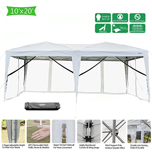 VINGLI 10′ x 20′ Mesh Sidewalls POP UP Tent, Anti-Mosquito Screen Canopy, Instant Setup Gazebos, 6 Translucent Sides Doors, Windproof Sturdier Frame, 99% Anti-UV, Heavy Duty Wheeled Carry bag, White
