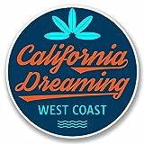 2 x 10cm/100mm Surf California West Coast USA Sticker Decal Laptop Car Travel Luggage Label Tag #9816