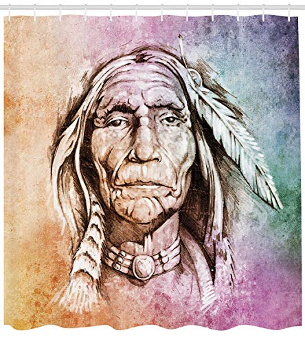 """Ambesonne Colorful Shower Curtain, Portrait of Chief with Feather Band Watercolor Style Image, Cloth Fabric Bathroom Decor Set with Hooks, 84"""" Extra Long, Light Orange"""