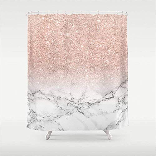GOOESING I Like Exercise Modern Faux Rose Gold Pink Glitter Ombre White Marble Shower Curtain 60 x 72 in