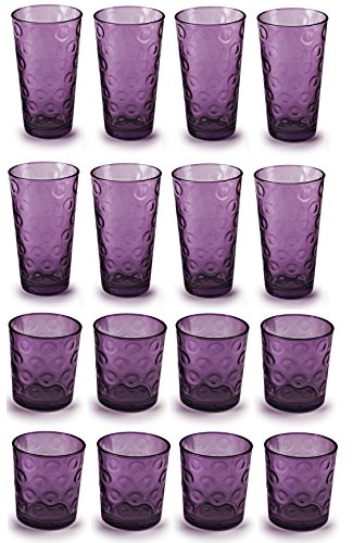 Circleware 44806 Circles Plum Huge Set of 16 Drinking 17 oz. and 8-13 oz. Double Old Fashioned Whiskey Juice Water Beer Beverage Glass, 16pc Set by Circleware (Image #1)
