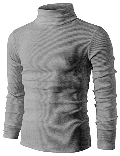 H2H Mens Slim Fit Basic Ribbed Thermal Turtleneck Pullover Sweaters GRAY US XL/Asia XXL (KMTTL033) (Petite Ribbed Turtleneck Sweater)